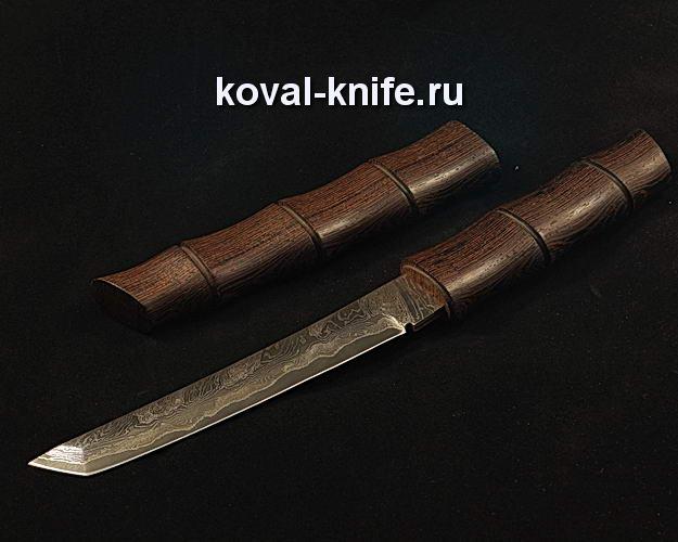 Нож Танто в деревянных ножнах S106 из ламинированной дамасской стали
