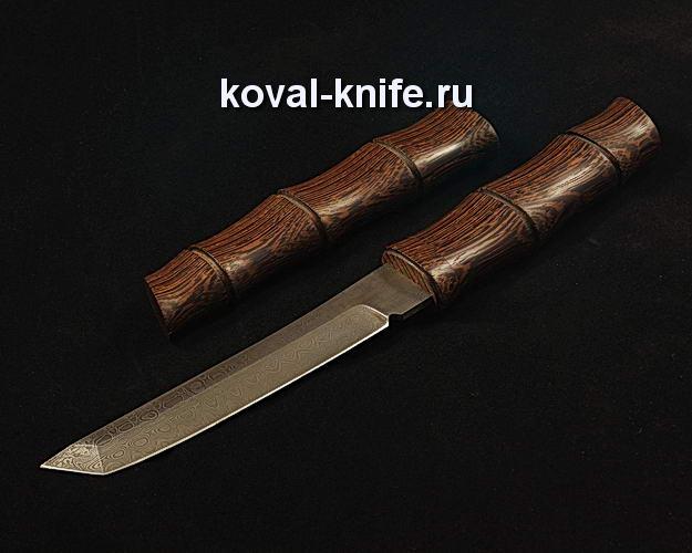 Нож Танто в деревянных ножнах S108 из дамасской стали