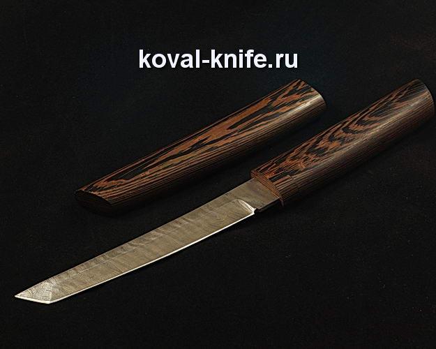Нож Танто в деревянных ножнах S110 из дамасской стали