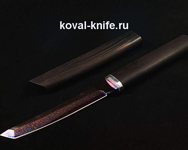 Нож Танто в деревянных ножнах S111 из мозаичной дамасской стали
