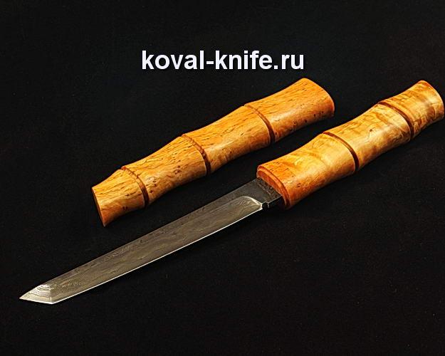 Нож Танто в деревянных ножнах S112 из ламинированной дамасской стали