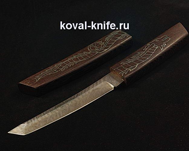 Нож Танто S254 из дамасской стали в деревянных ножнах с инкрустацией