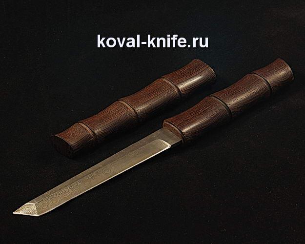 Нож Танто S266 из дамасской стали в деревянных ножнах из венге