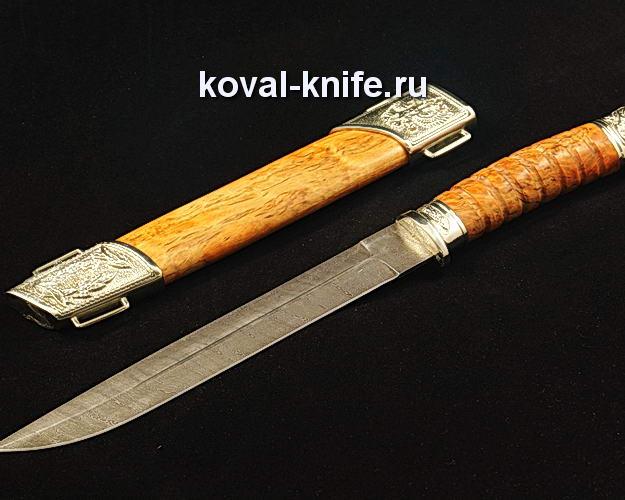 Нож Пластунский S269 из дамасской стали в деревянных ножнах