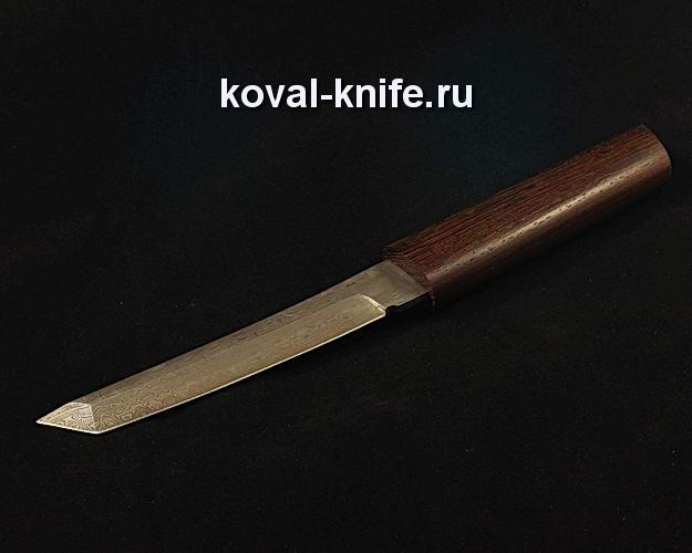 Нож Танто в деревянных ножнах S49 из дамасской стали