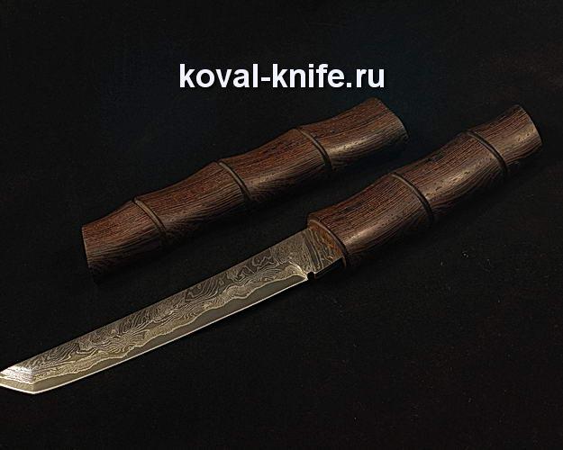Нож Танто S59 в деревянных ножнах клинок из ламинированной дамасской стали