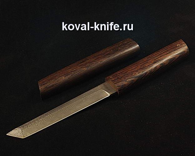 Нож Танто S64 в деревянных ножнах с клинком из ламинированной дамасской стали