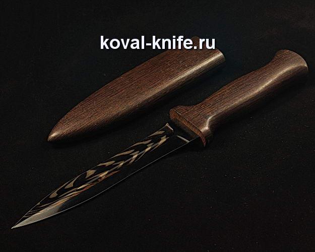 Нож S65 в деревянных ножнах с клинком из мозаичной дамасской стали